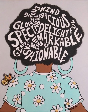 Naturally Me, Words in Hair, Flower and Polka Dot Shirt