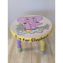 Hand Painted Wood Stool, E is for Elephant