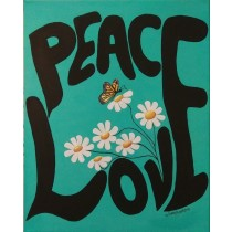 Peace and Love Teal Background Butterfly Flowers