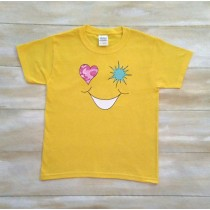 Smiley Face Pink Fatigue Heart Jade Burst Tshirt